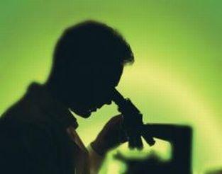 Immagine in controluce di ricercatore al microscopio, su sfondo verde