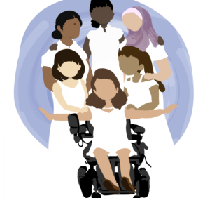Realizzazione grafica che raffigura sei donne diverse per etnia e colore della pelle. Esse sono ritratte frontalmente, sono vicine tra loro e si abbracciano le spalle in un gesto di sorellanza. Una di esse, posta in primo piano, è in sedia a rotelle. Sono tutte vestite di bianco. Sui loro volti non sono stati disegnati occhi, naso e bocca.