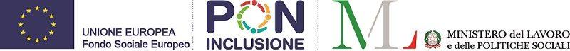 Loghi Unione Europea FSE, PON Inclusione e Ministero del Lavoro e delle Politiche Sociali